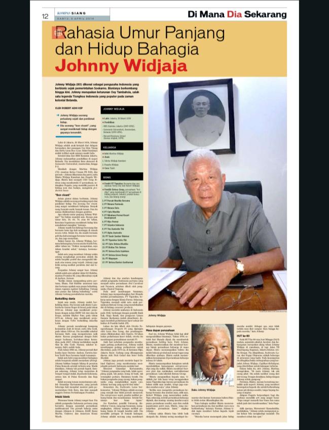 Rahasia Umur Panjang dan Hidup Bahagia Johnny Widjaja