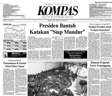 Berita utama Harian Kompas 16 Mei 1998 berjudul