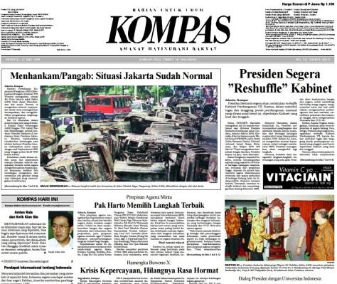 Berita utama Harian Kompas Minggu 17 Mei 1998 berjudul