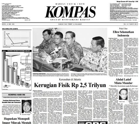 Berita utama Harian Kompas Senijn 18 Mei 1998 berjudul