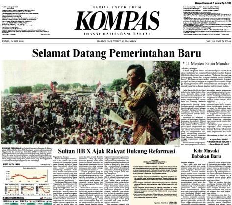 """Berita utama Harian Kompas 21 Mei 1998 berjudul """"Selamat Datang Pemerintahan Baru"""""""