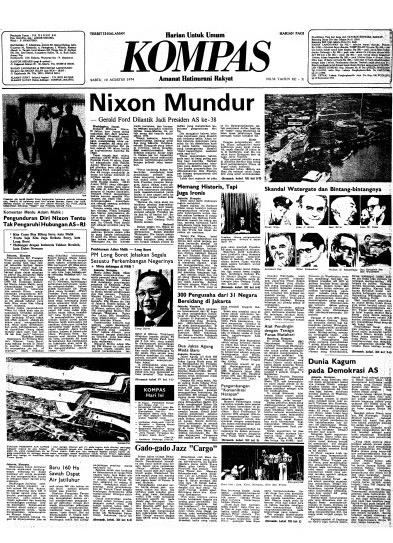 Halaman muka Harian Kompas Sabtu 10 Agustus 1974