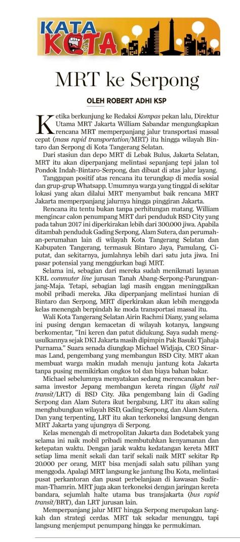 MRT ke Serpong